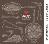 collection of wok  chinese... | Shutterstock .eps vector #1114495565