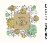 background with baobab  baobab... | Shutterstock .eps vector #1114495595