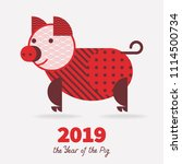 pig is a symbol of the 2019... | Shutterstock .eps vector #1114500734