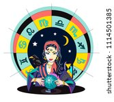the oracle girl predicts the... | Shutterstock .eps vector #1114501385