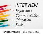 interview written on a white... | Shutterstock . vector #1114518251