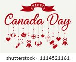 happy canada day card or... | Shutterstock .eps vector #1114521161