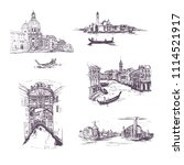 set of four  graphic sketch... | Shutterstock .eps vector #1114521917