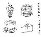 sketch of dessert collection.... | Shutterstock .eps vector #1114522817