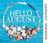 hello august text in circle of...   Shutterstock . vector #1114532357