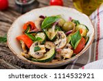 saute with mushrooms  zucchini  ... | Shutterstock . vector #1114532921
