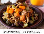 festive salad with roasted... | Shutterstock . vector #1114543127