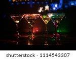 several glasses of famous... | Shutterstock . vector #1114543307