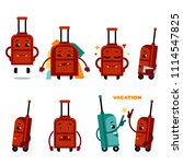 funny airplane travelling bag...   Shutterstock .eps vector #1114547825