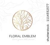 floral linear emblem. vector... | Shutterstock .eps vector #1114552577