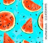 seamless summer watermelon... | Shutterstock . vector #1114554995