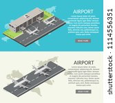 isometric low poly airport... | Shutterstock .eps vector #1114556351
