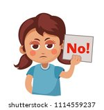 cute girl holding a sign that... | Shutterstock .eps vector #1114559237