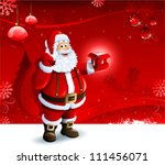 santa claus holding a gift box... | Shutterstock .eps vector #111456071