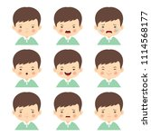 set of cartoon boy with... | Shutterstock .eps vector #1114568177