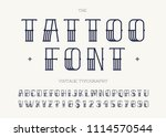 tattoo font black color. retro... | Shutterstock .eps vector #1114570544