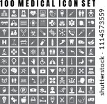 vector medical icon set of 100... | Shutterstock .eps vector #1114573559