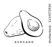 avocado. black and white sketch.... | Shutterstock .eps vector #1114573934