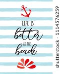 funny summer text life is... | Shutterstock .eps vector #1114576259