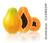 realistic papaya set. full... | Shutterstock .eps vector #1114583249