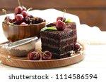 super chocolate truffle cake... | Shutterstock . vector #1114586594