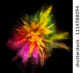 colored powder explosion on... | Shutterstock . vector #1114588094