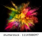 colored powder explosion on... | Shutterstock . vector #1114588097