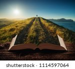 girl hiker with backpack and... | Shutterstock . vector #1114597064