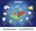 isometric dairy factory... | Shutterstock .eps vector #1114599224