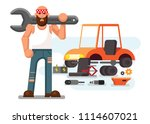 mechanic with dismantled car | Shutterstock .eps vector #1114607021