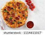 cut into slices delicious fresh ...   Shutterstock . vector #1114611017
