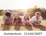 teenagers and vacation concept. ... | Shutterstock . vector #1114615607