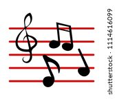 music notes  song  melody or... | Shutterstock .eps vector #1114616099