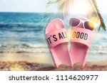 beach accessories on the beach... | Shutterstock . vector #1114620977