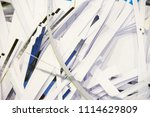 pile of shredded documentary... | Shutterstock . vector #1114629809