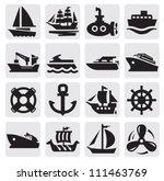 vector black boat and ship... | Shutterstock .eps vector #111463769