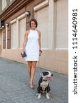 woman with a dog walking down... | Shutterstock . vector #1114640981