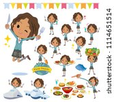 a set of school girl on food... | Shutterstock .eps vector #1114651514
