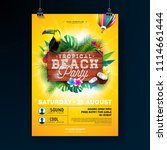 vector summer beach party flyer ... | Shutterstock .eps vector #1114661444