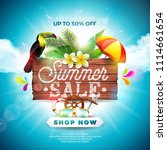 summer sale design with flower  ... | Shutterstock .eps vector #1114661654