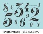 numbers font. classical elegant ... | Shutterstock .eps vector #1114667297