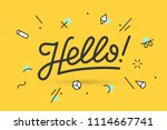 hello. lettering for banner ... | Shutterstock .eps vector #1114667741