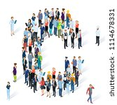 crowded isometric people vector ... | Shutterstock .eps vector #1114678331