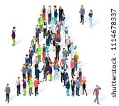 crowded isometric people vector ... | Shutterstock .eps vector #1114678337