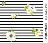 seamless striped style floral...   Shutterstock .eps vector #1114682141