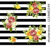 Seamless Striped Style Floral...