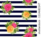 seamless striped style floral...   Shutterstock .eps vector #1114682147