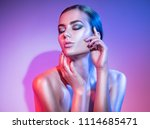 high fashion model woman in... | Shutterstock . vector #1114685471