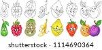 cartoon fruits collection.... | Shutterstock .eps vector #1114690364