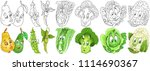 cartoon vegetables collection.... | Shutterstock .eps vector #1114690367